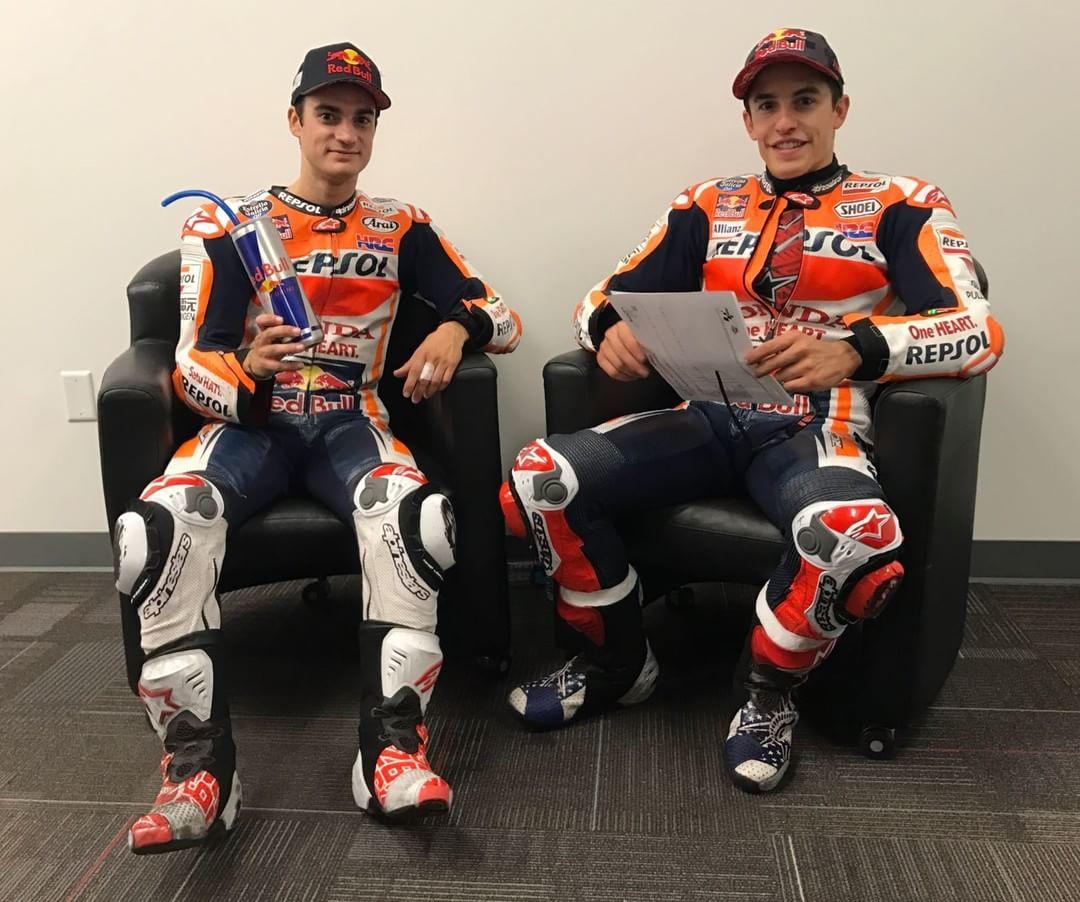 Podium partners GiveMe5  marcmarquez93 26danipedrosa AmericasGP MotoGP