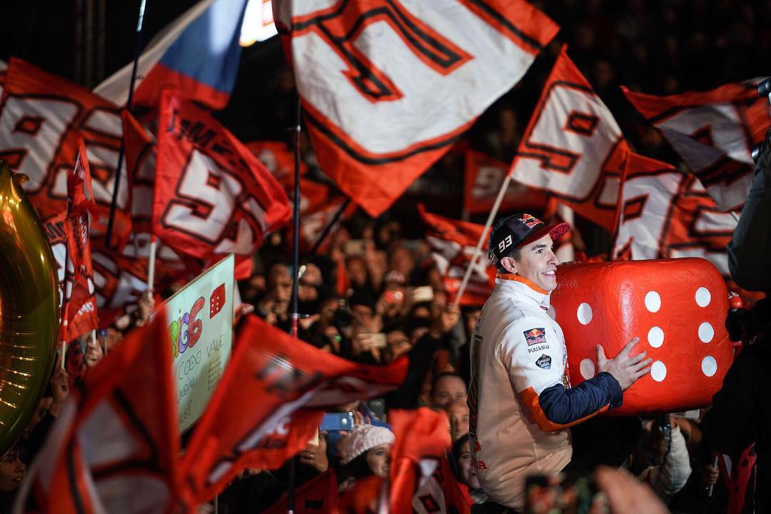 Homecoming party  marcmarquez93 is greeted by thousands of fanshellip